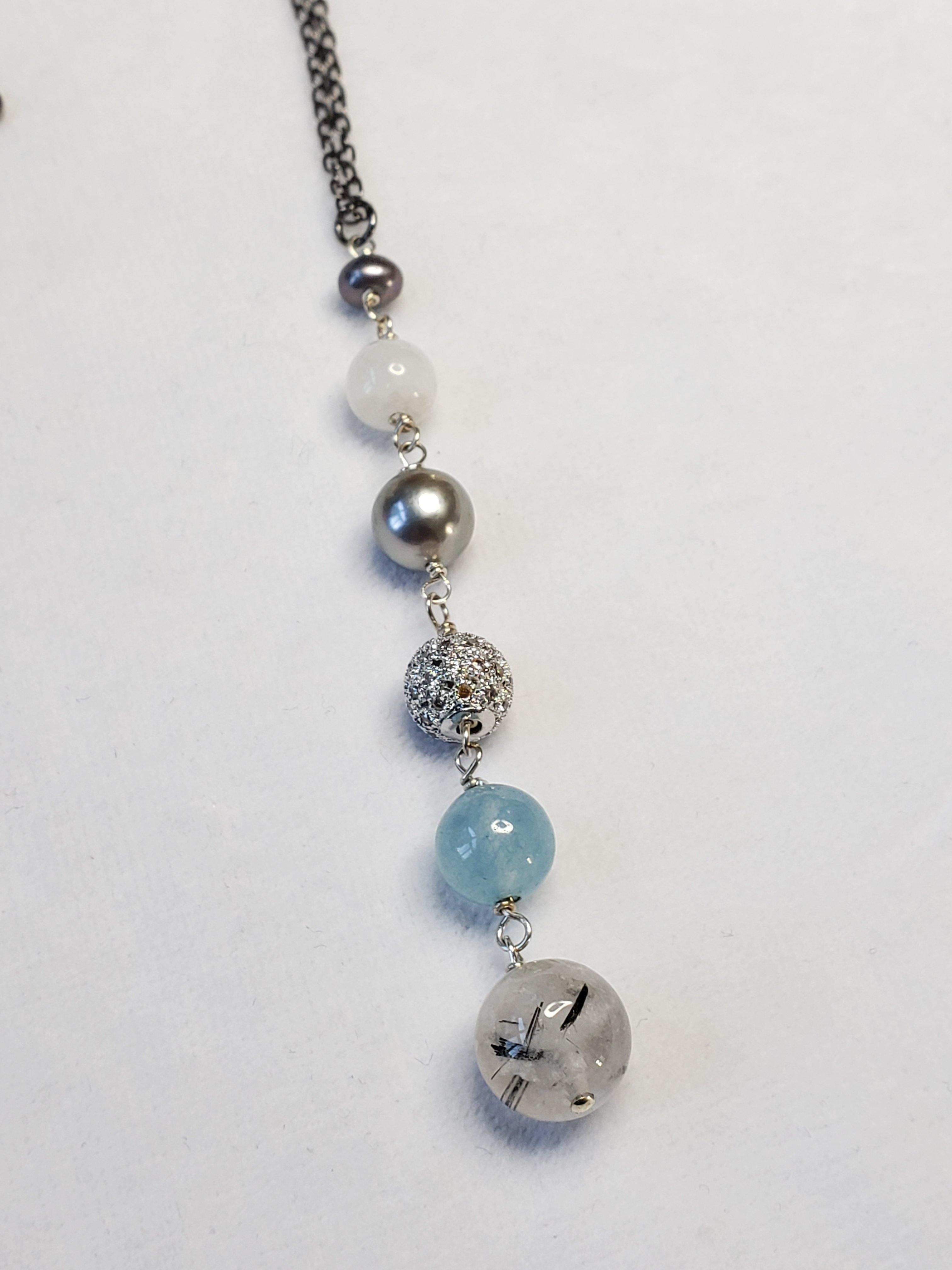 Long Drop Necklace; Rutilated Quartz, Pearl, Moonstone, and Aquamarine with a Pave Bead