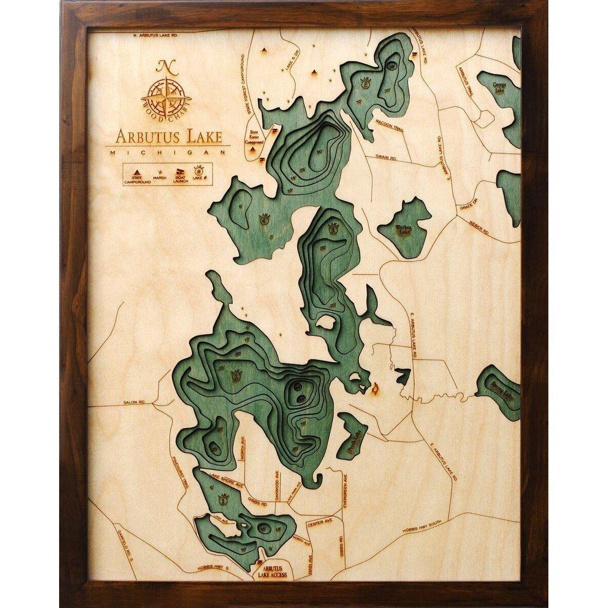 Arbutus Lake (Traverse) Wood Chart-WOOD CHART-Maker & Moss
