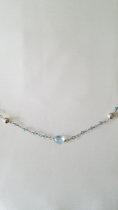 "Blue Topaz, Moonstone, and Sterling Silver Necklace, 27""-Jewelry-Maker & Moss"