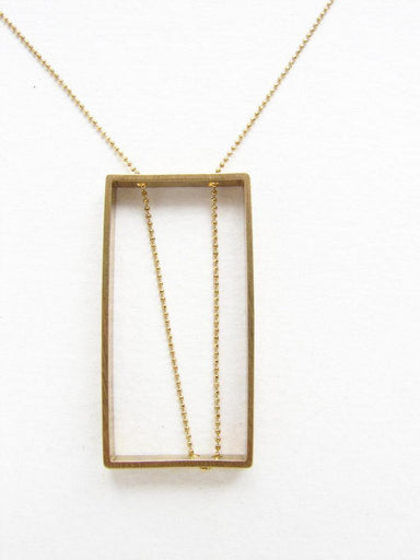 Brass Vertical Rectangle Pendant-Jewelry-Maker & Moss