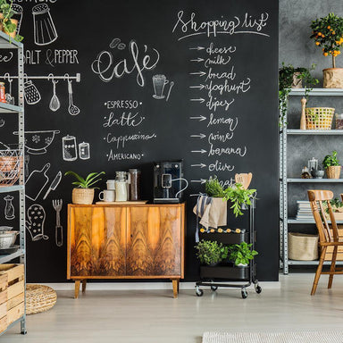 Chalkboad Black Peel and Stick Wallpaper-LIFESTYLE-Maker & Moss