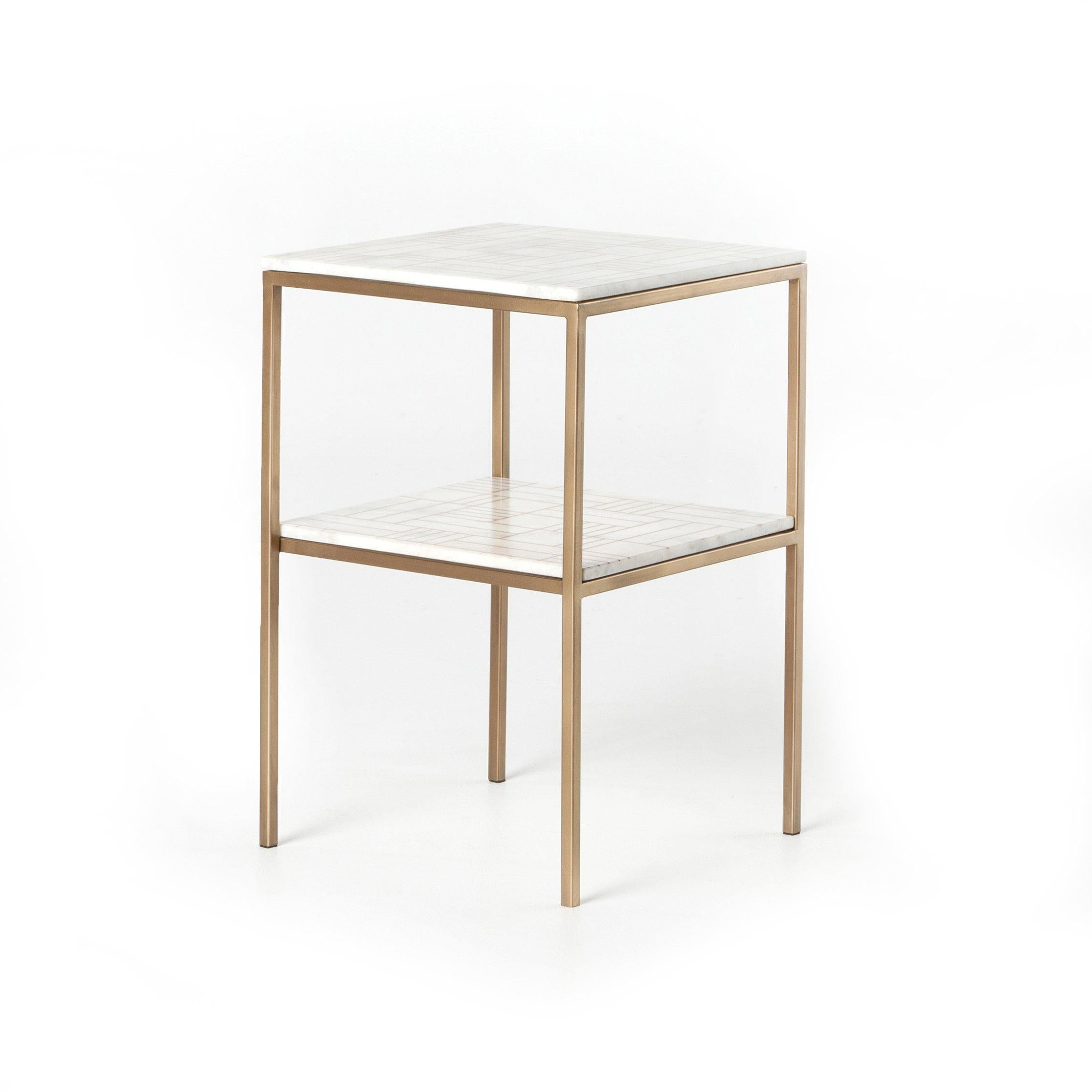 Clarendon Marble Side Table-FURNITURE-Maker & Moss