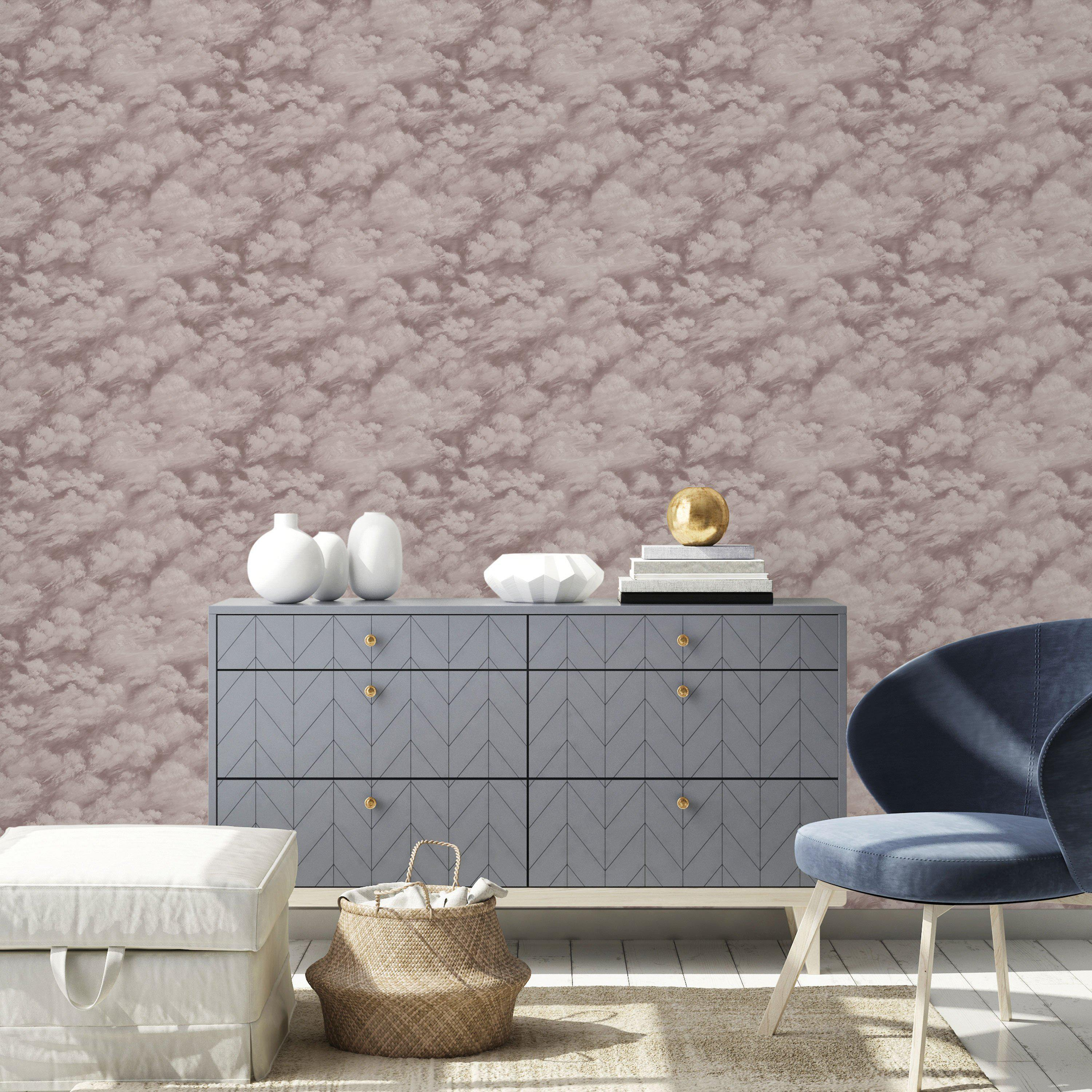 Clouds Fog Grey Peel and Stick Wallpaper-LIFESTYLE-Maker & Moss