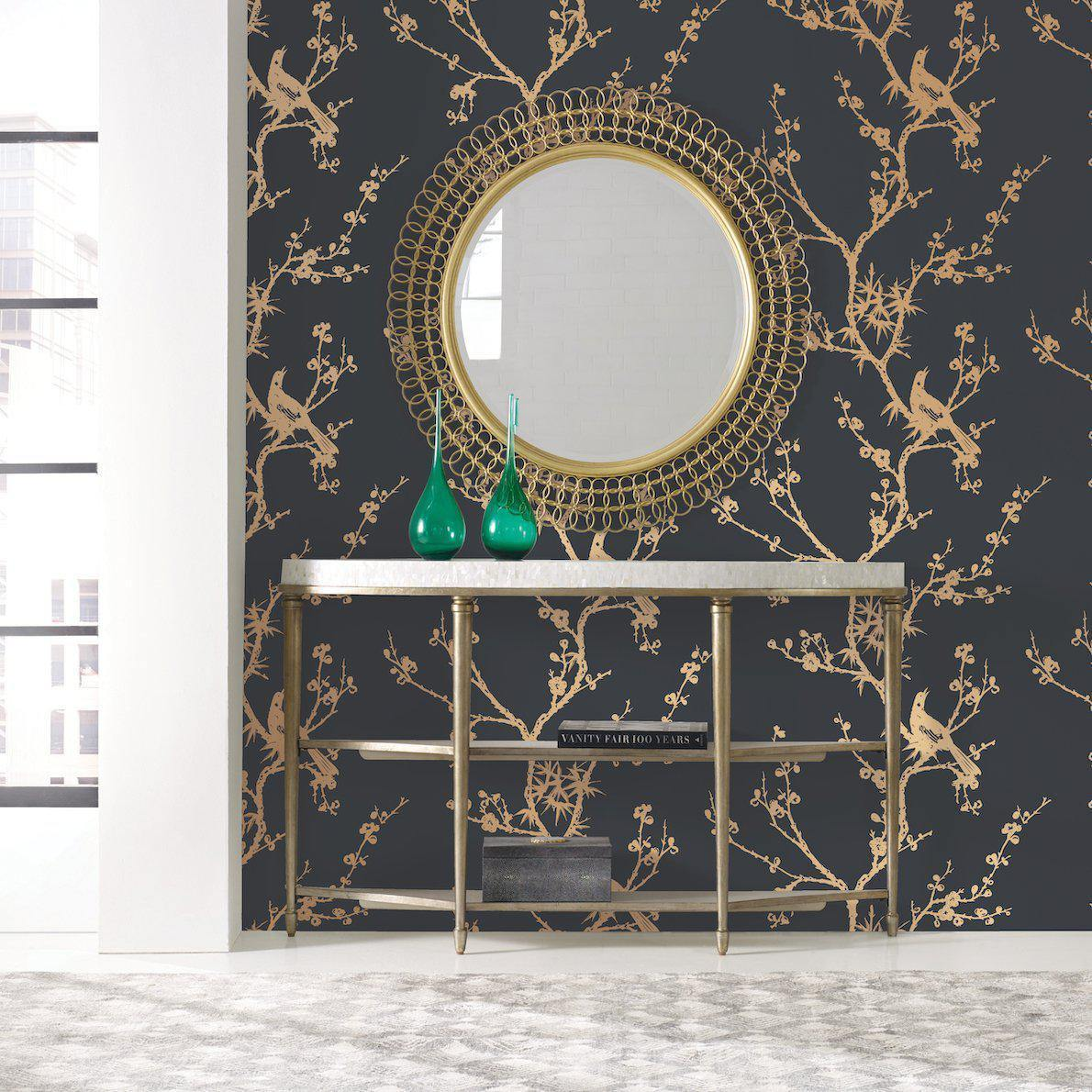 Cynthia Rowley Bird Watching Black & Gold Peel and Stick Wallpaper-LIFESTYLE-Maker & Moss