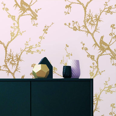 Cynthia Rowley Bird Watching Rose Pink & Gold Peel and Stick Wallpaper-LIFESTYLE-Maker & Moss