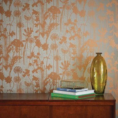 Distressed Floral Grey & Metallic Copper Peel and Stick Wallpaper-LIFESTYLE-Maker & Moss