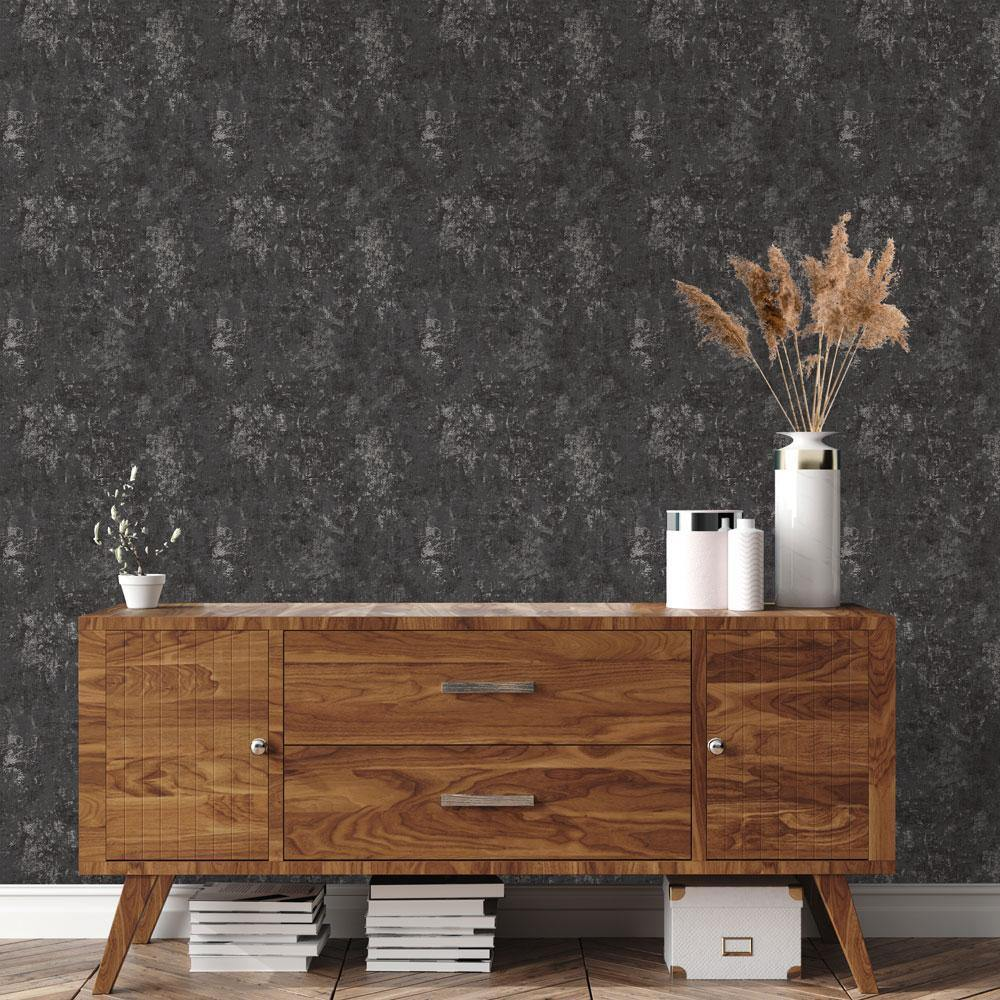 Distressed Gold Leaf Gunmetal Peel and Stick Wallpaper-LIFESTYLE-Maker & Moss