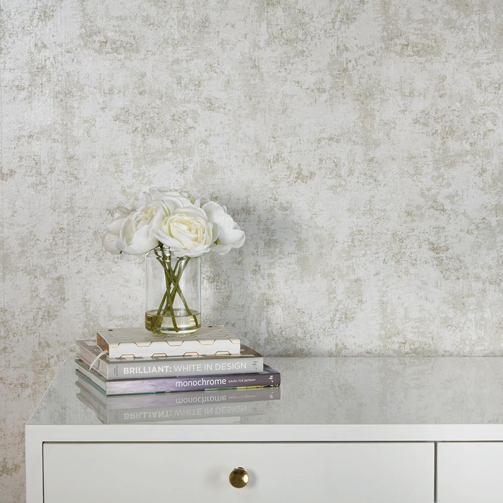 Distressed Gold Leaf Pearl Peel and Stick Wallpaper-LIFESTYLE-Maker & Moss