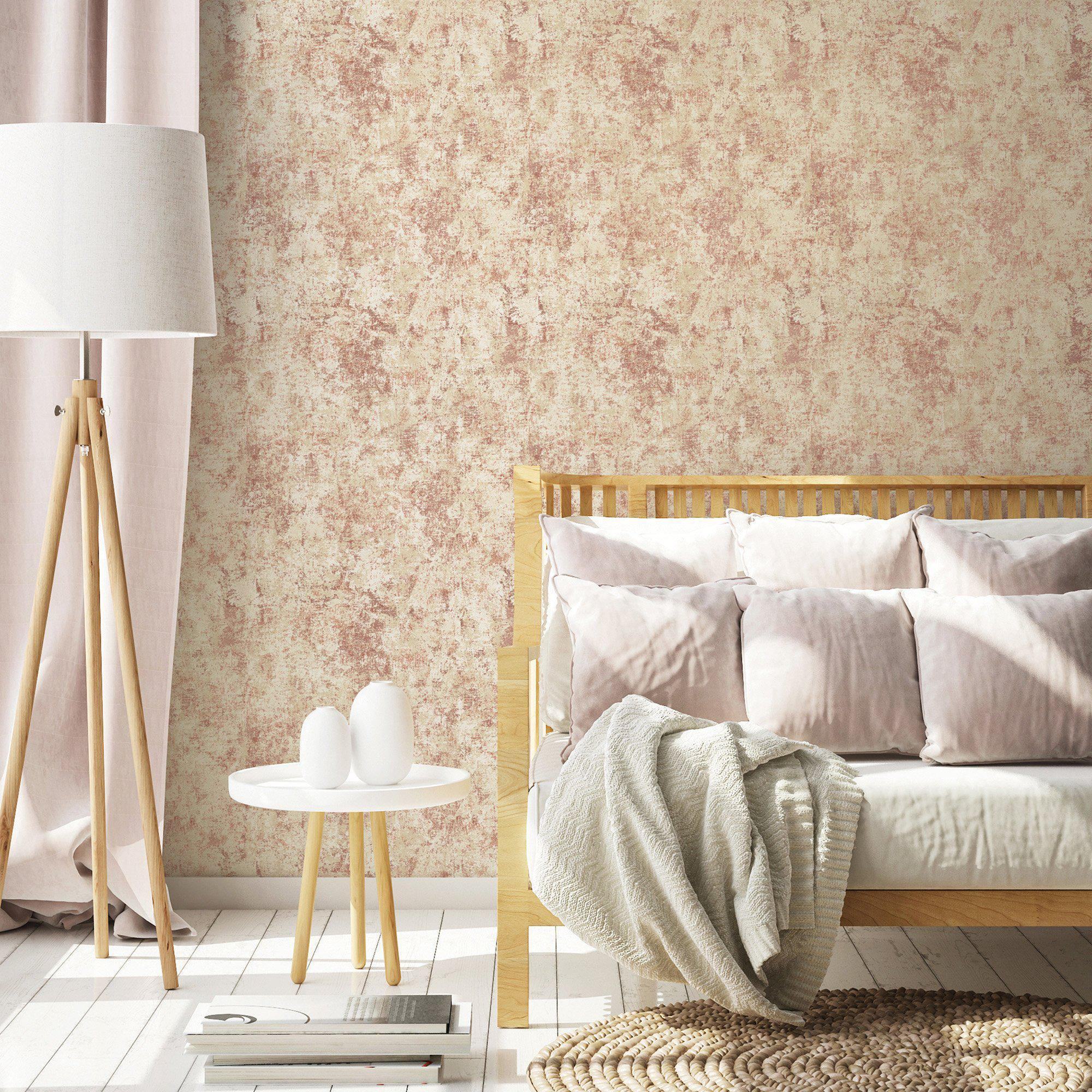 Distressed Gold Leaf Rose Peel and Stick Wallpaper-LIFESTYLE-Maker & Moss