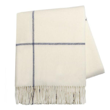Ecru & Navy Windowpane Cashmere Throw-TEXTILES-Maker & Moss