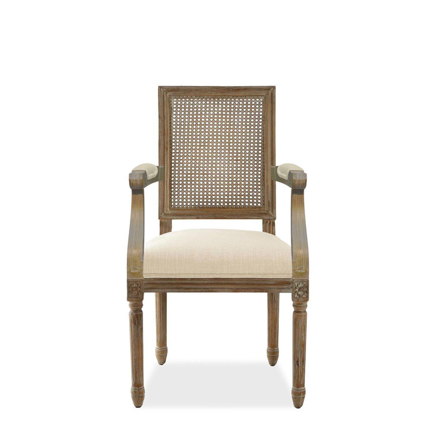 French Square Cane Arm Chair-FURNITURE-Maker & Moss