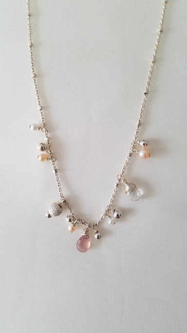 "Freshwater Pearls, Tundra Sapphires and Sterling Silver Necklace, 17""-Jewelry-Maker & Moss"