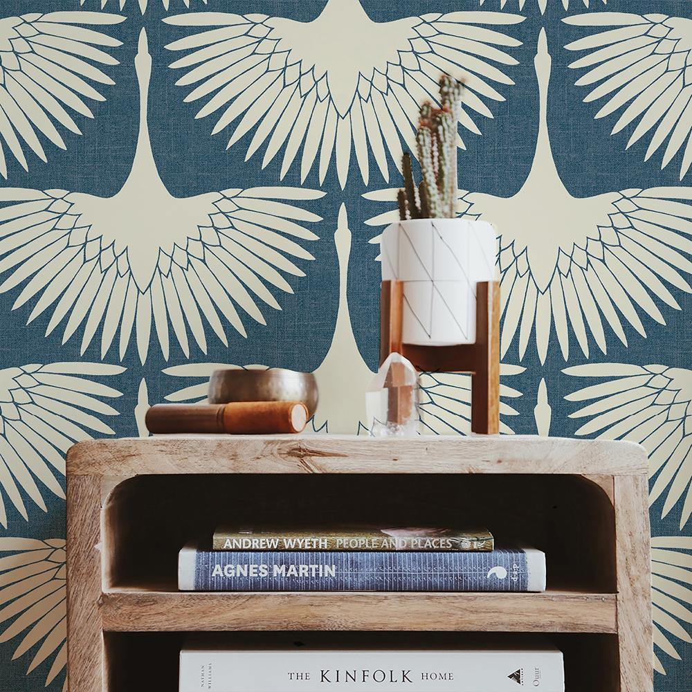 Genevieve Gorder Feather Flock Denim Blue Peel and Stick Wallpaper-LIFESTYLE-Maker & Moss
