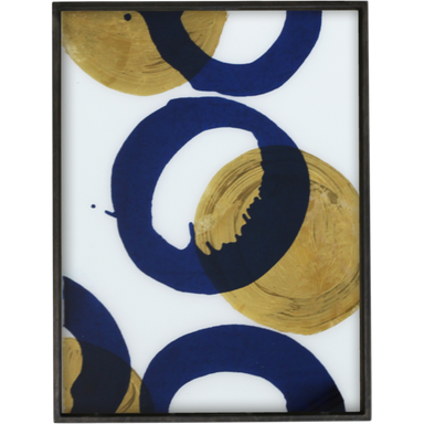 Gold and Blue Halos Glass Tray-DECORATIVE-Maker & Moss