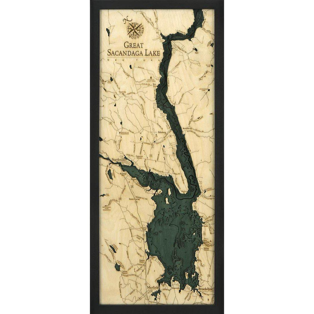 Great Sacandaga Lake Wood Chart-WOOD CHART-Maker & Moss