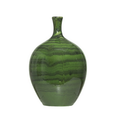 Green Malachite Vase-DECORATIVE-Maker & Moss