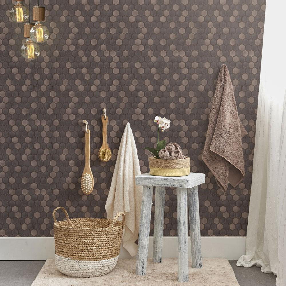 Hexagon Tile Regal Noir Peel and Stick Wallpaper-LIFESTYLE-Maker & Moss