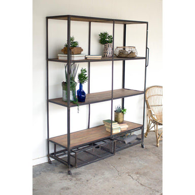 Iron and Wood Shelving Unit-FURNITURE-Maker & Moss