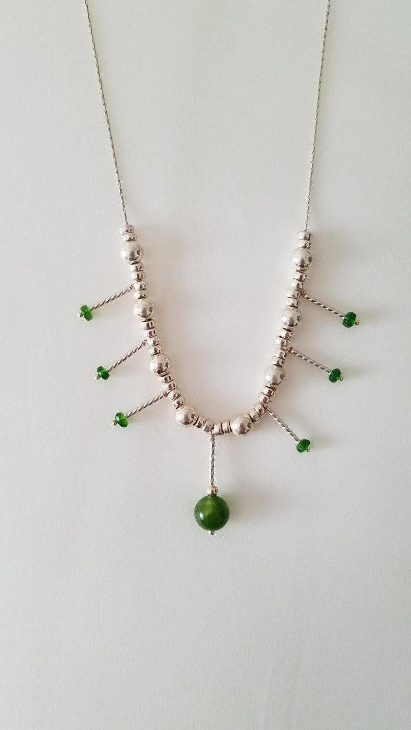 "Jade Beaded Spears Necklace, 17""-Jewelry-Maker & Moss"