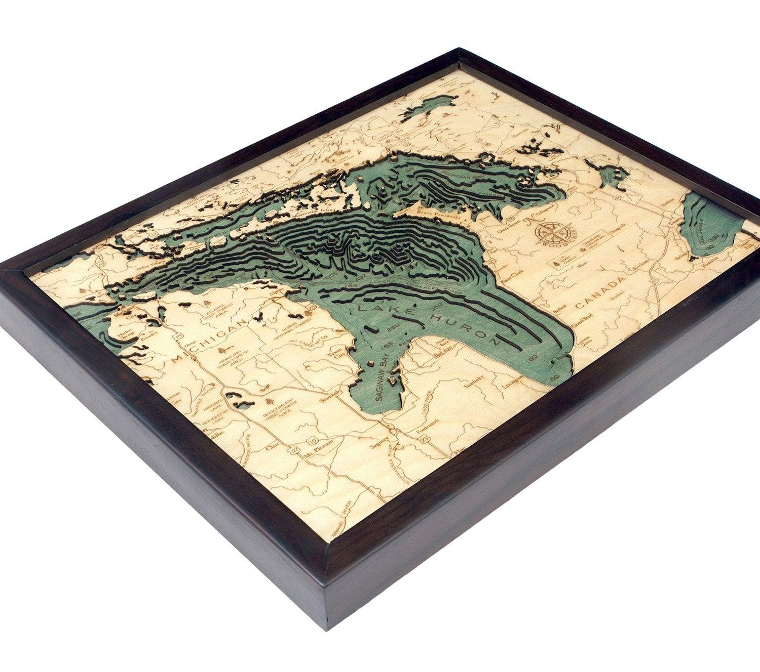 Lake Huron Wood Chart-WOOD CHART-Maker & Moss