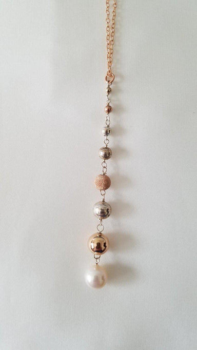 "Large Pearl, Rose Gold and Sterling Silver Beads Long Drop Necklace, 22""-Jewelry-Maker & Moss"