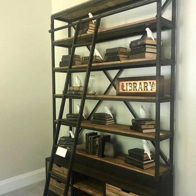 Loft Library Bookcase with Ladder-FURNITURE-Maker & Moss