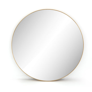 Modern Circle Mirror Large Polished Brass-MIRROR-Maker & Moss