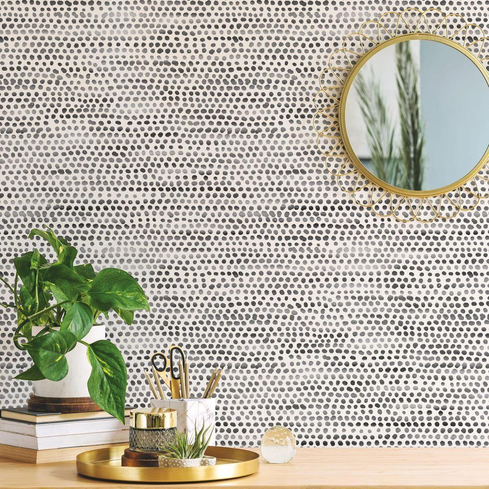 Moire Dots Black & White Peel and Stick Wallpaper-LIFESTYLE-Maker & Moss