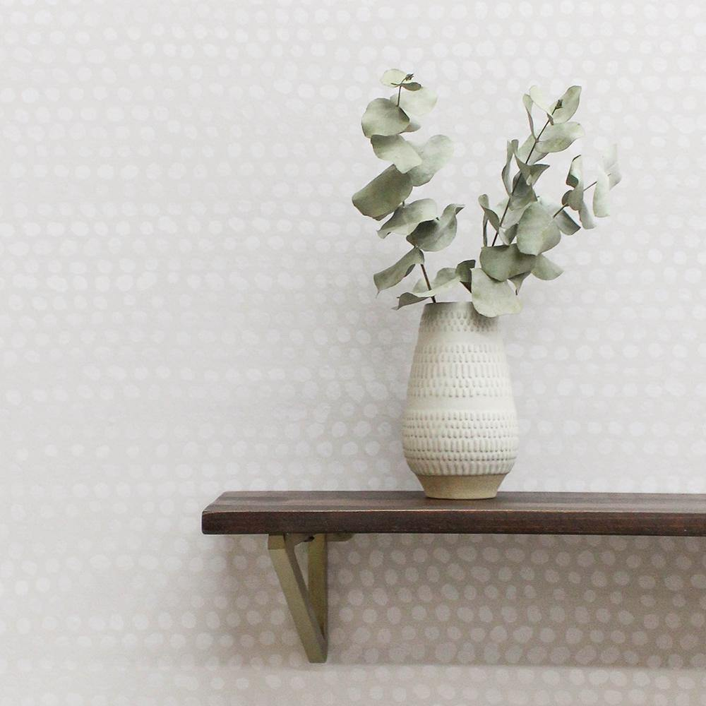 Moire Dots Pearl Grey Peel and Stick Wallpaper-LIFESTYLE-Maker & Moss