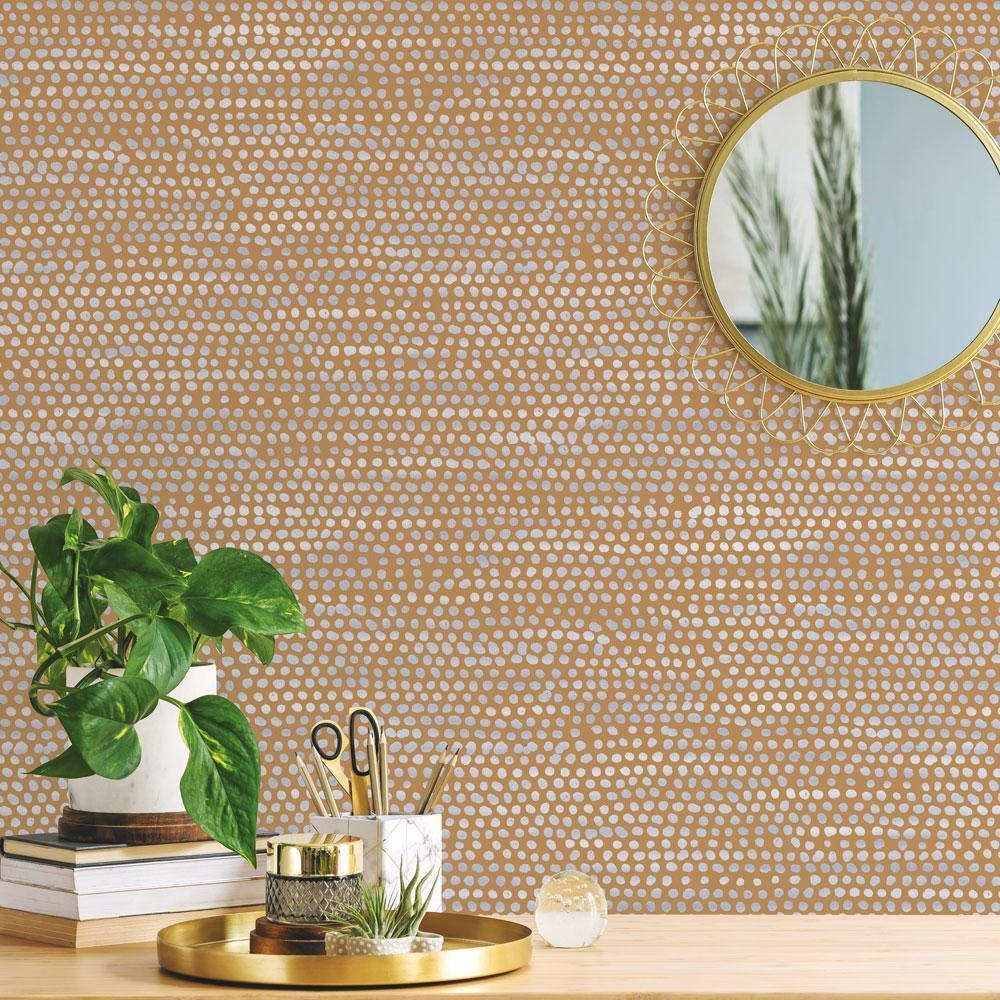 Moire Dots Toasted Turmeric Peel and Stick Wallpaper-LIFESTYLE-Maker & Moss