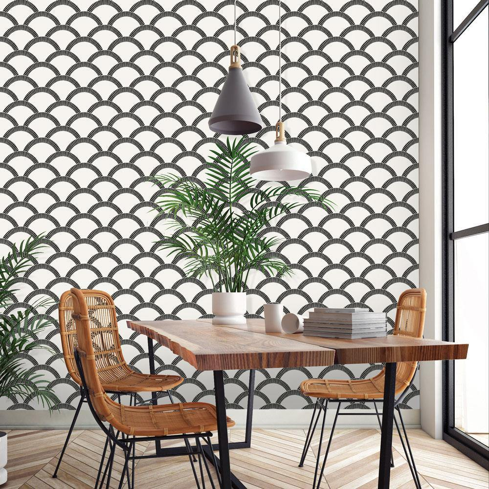Mosaic Scallop Black & Cream Peel and Stick Wallpaper-LIFESTYLE-Maker & Moss