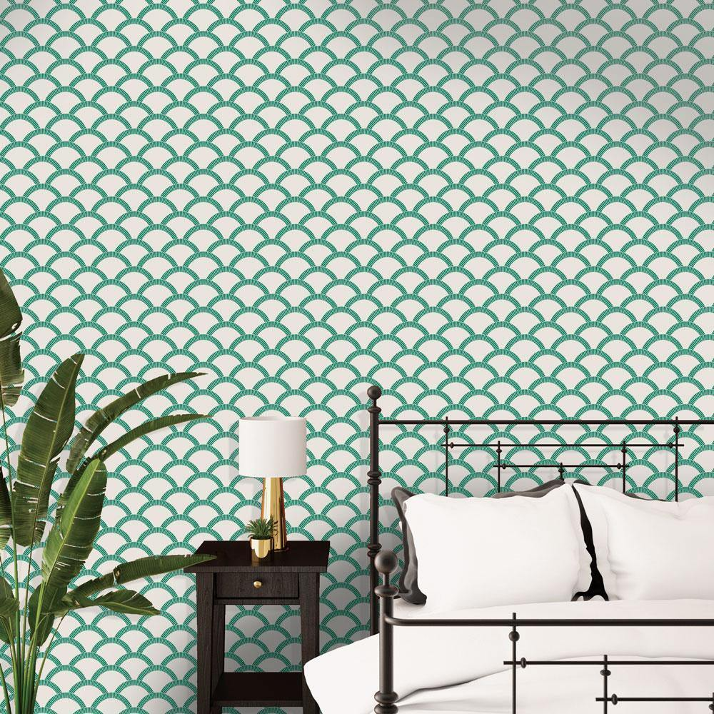 Mosaic Scallop Emerald Green Peel and Stick Wallpaper-LIFESTYLE-Maker & Moss