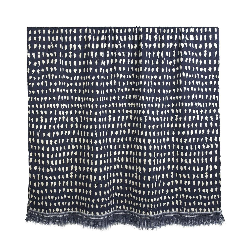Navy Dots Throw-TEXTILES-Maker & Moss