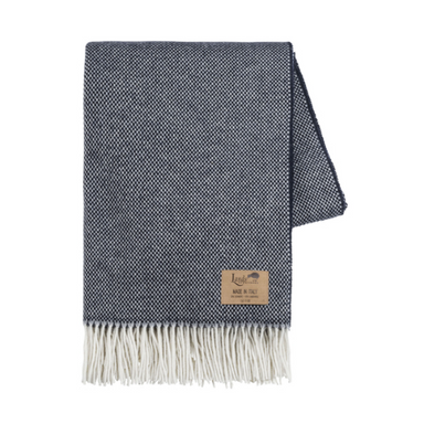 Navy Juno Cashmere Throw-TEXTILES-Maker & Moss