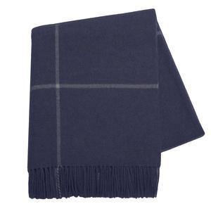 Navy Windowpane Cashmere Throw-TEXTILES-Maker & Moss