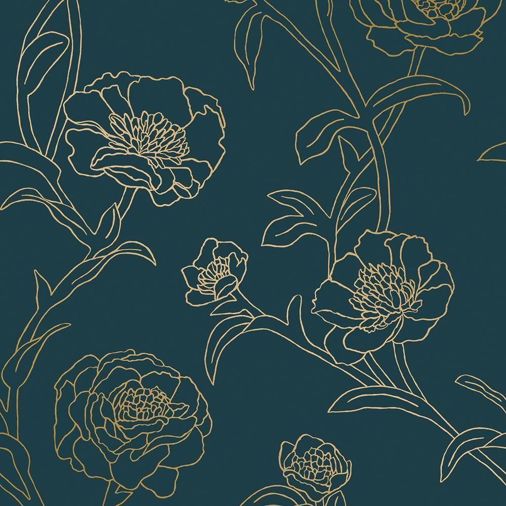 Peonies Peacock Blue & Metallic Gold Peel and Stick Wallpaper-LIFESTYLE-Maker & Moss