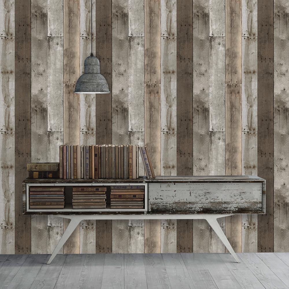 Repurposed Wood Weathered Peel and Stick Wallpaper-LIFESTYLE-Maker & Moss