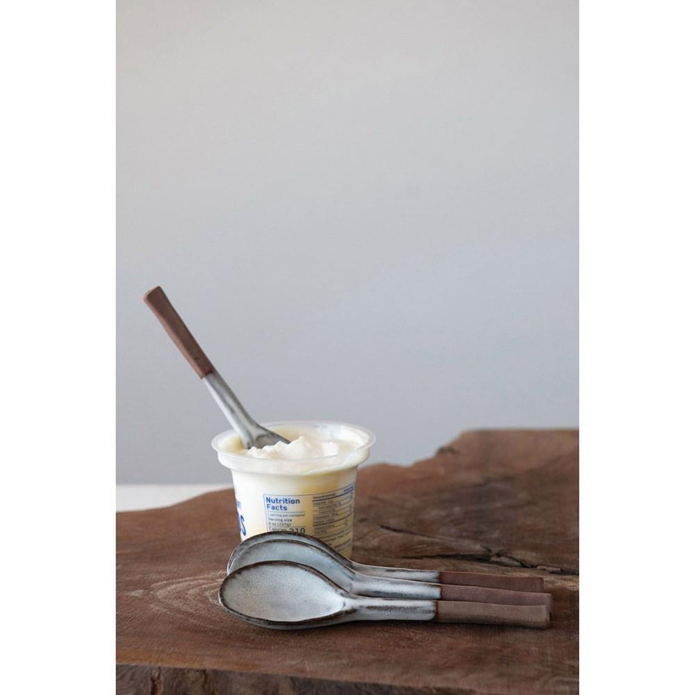 Rustic Stoneware Spoon White & Matte Brown-TABLETOP-Maker & Moss