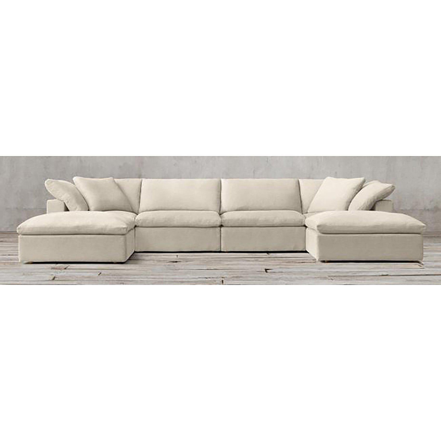Sandbar Sectional In Natural Linen-FURNITURE-Maker & Moss
