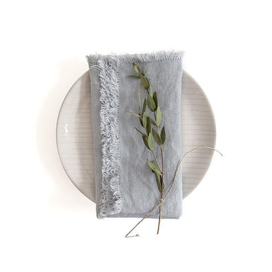 Set of 2 Linen Napkins with Fringe-TEXTILES-Maker & Moss