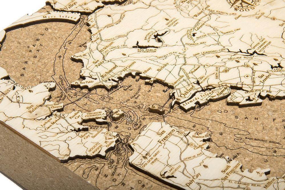 SF Cork Map-WOOD CHART-Maker & Moss