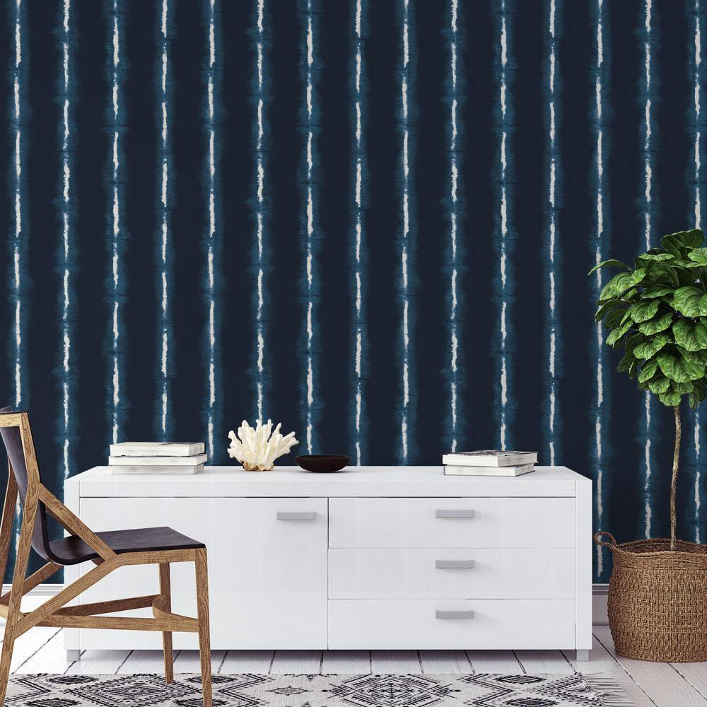 Shibori Lines Indigo Peel and Stick Wallpaper-LIFESTYLE-Maker & Moss