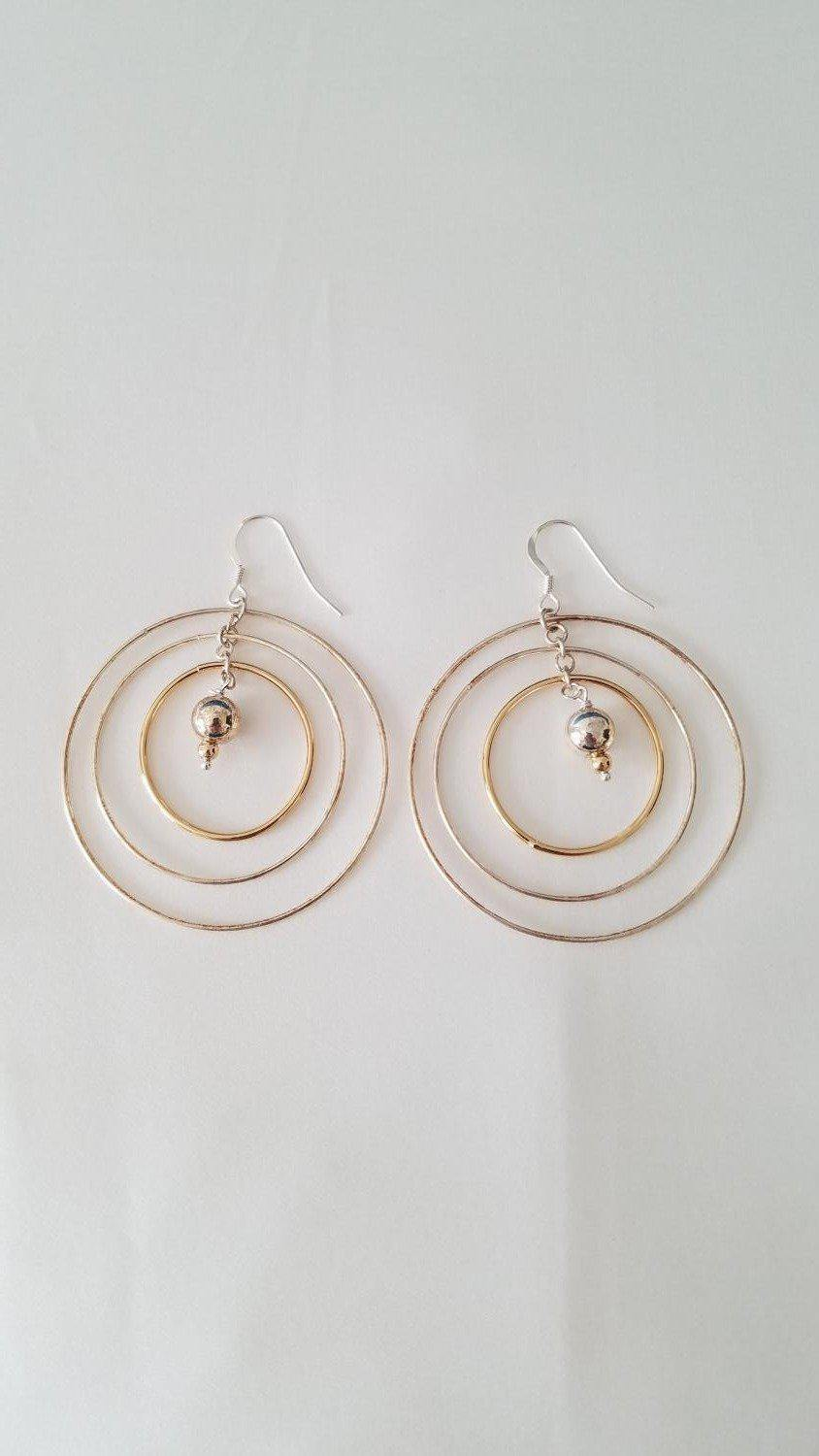 Silver and Gold Plated Triple Loop Earrings-Jewelry-Maker & Moss