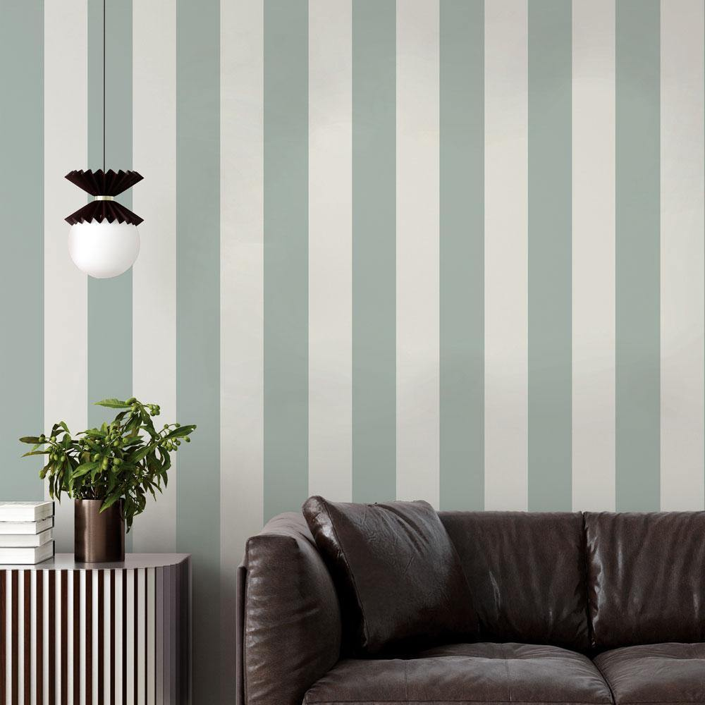 Stripe Seafoam Green Peel and Stick Wallpaper-LIFESTYLE-Maker & Moss