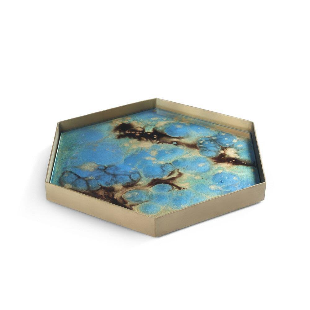 Teal Organic Hex Mini tray