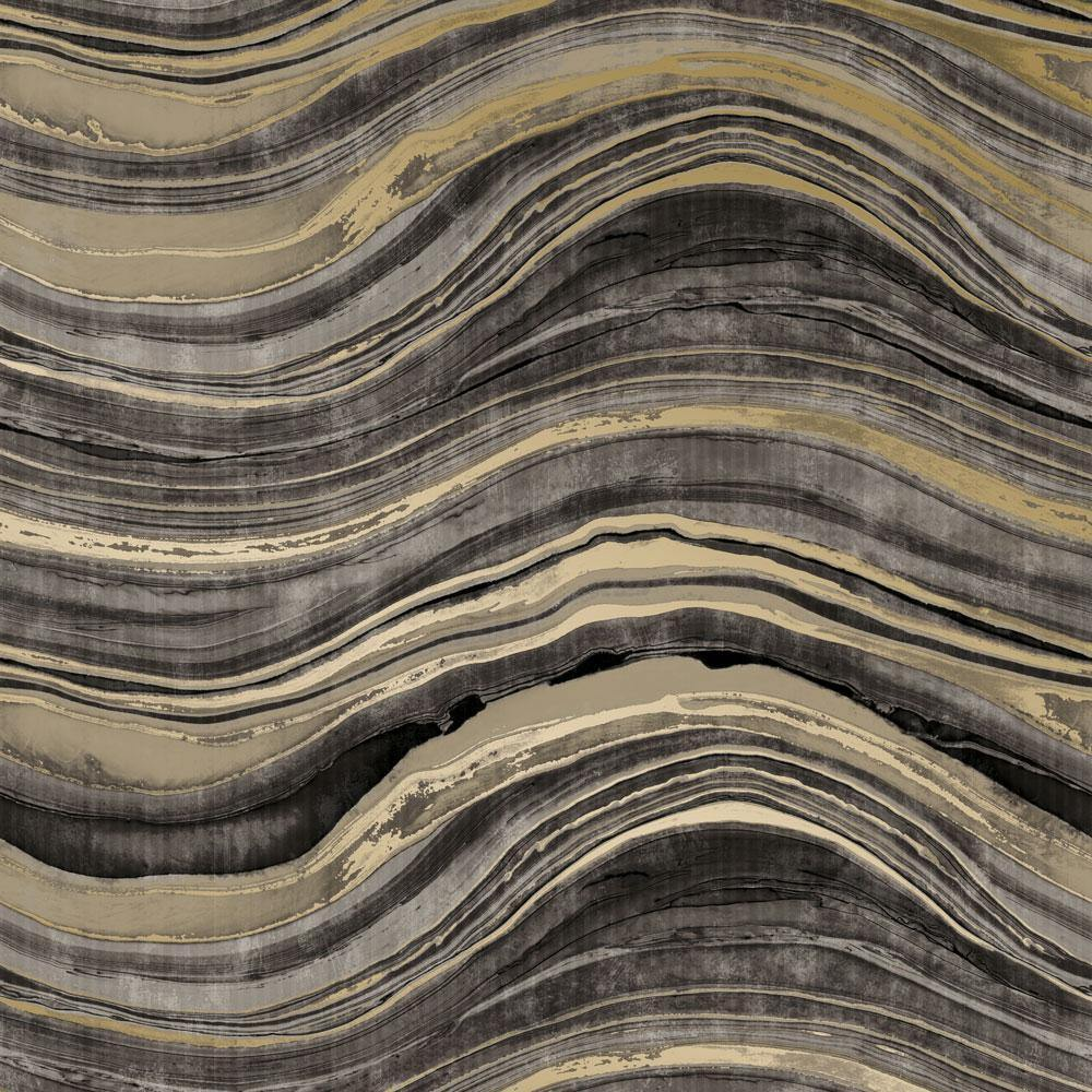 Travertine Black & Gold Peel and Stick Wallpaper-LIFESTYLE-Maker & Moss