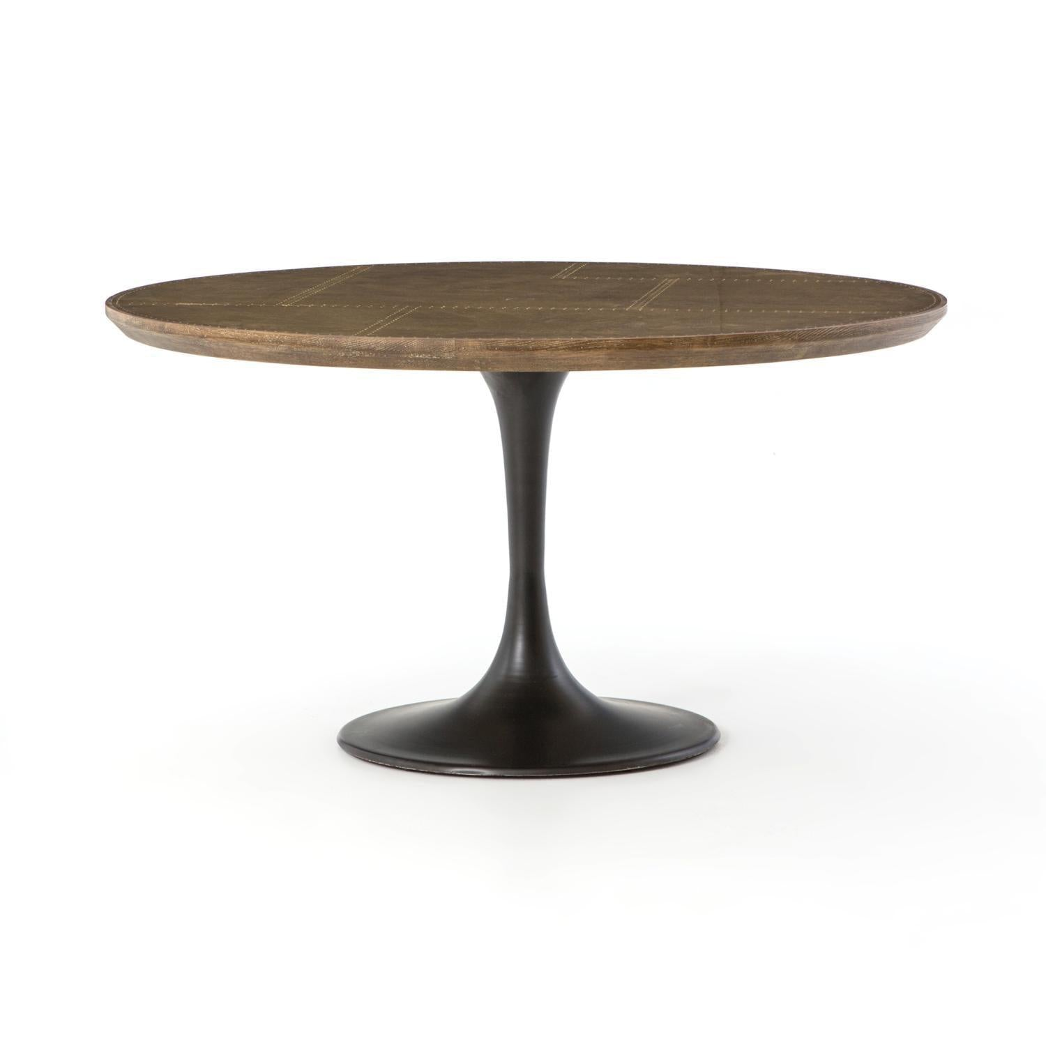 Trestle Round Dining Table-FURNITURE-Maker & Moss