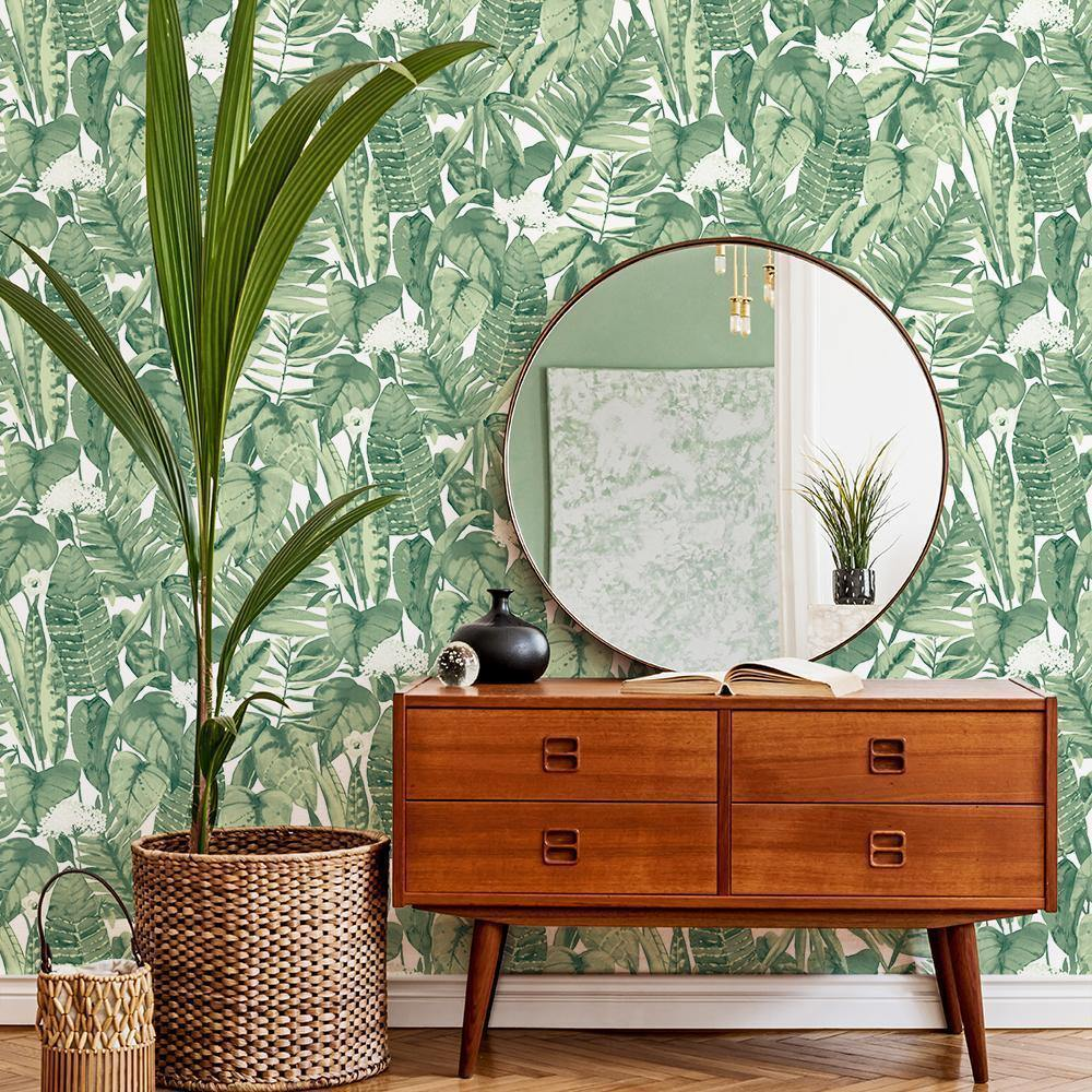 Tropical Jungle Green Peel and Stick Wallpaper-LIFESTYLE-Maker & Moss