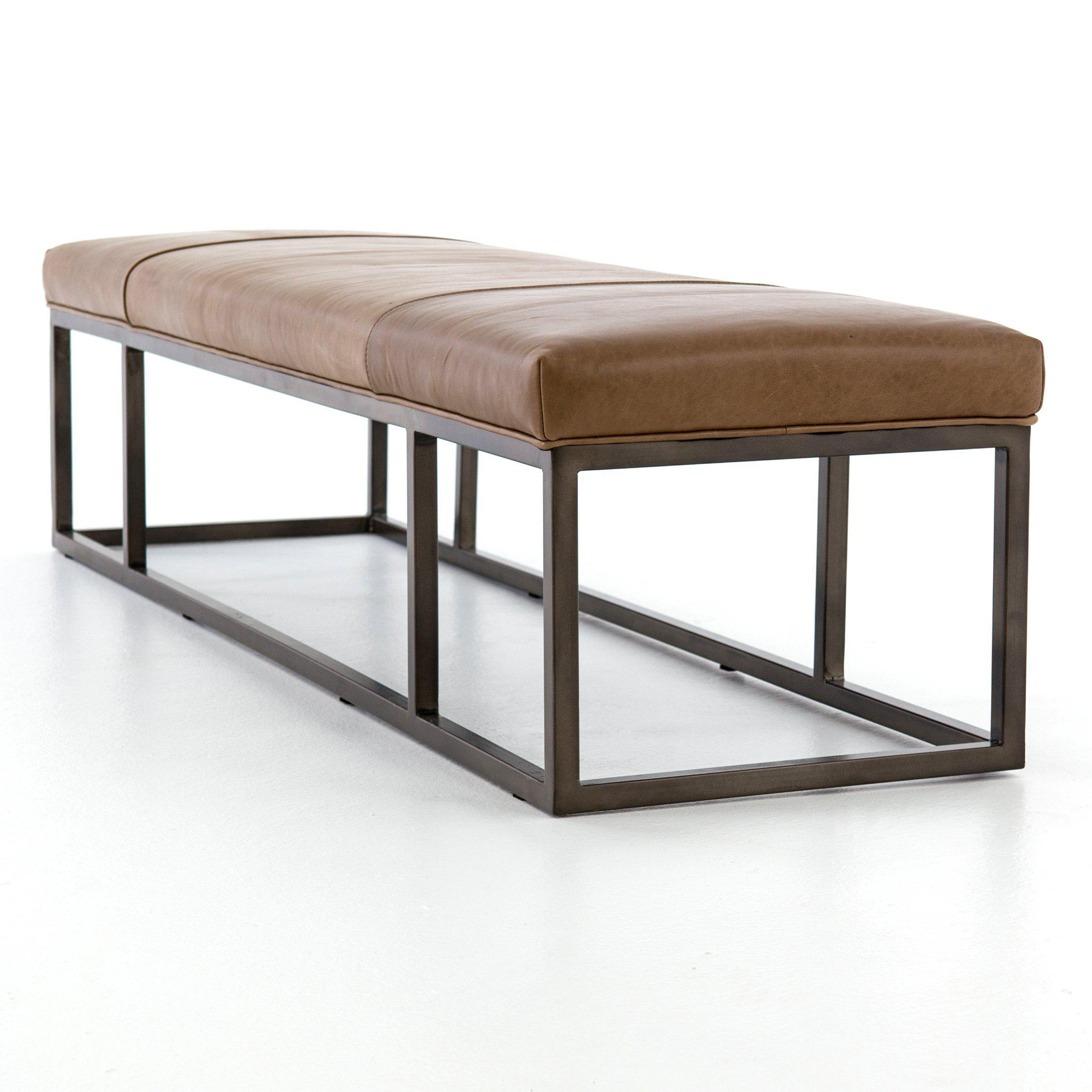 Windson Leather Bench-FURNITURE-Maker & Moss