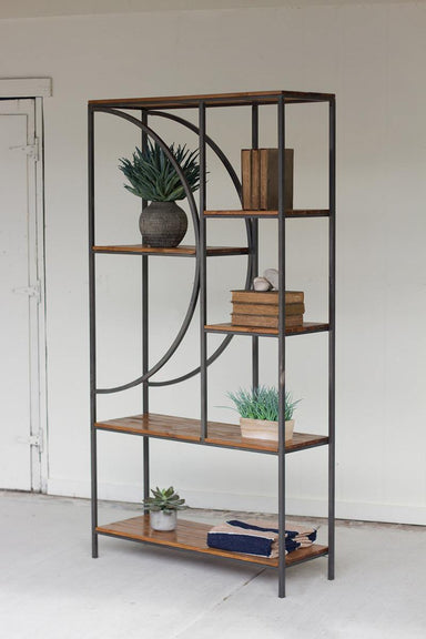 Wood & Metal Shelving Unit with DemiLune Detail-FURNITURE-Maker & Moss